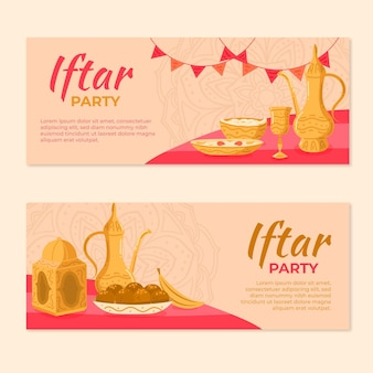 Conjunto de banner iftar dibujado a mano