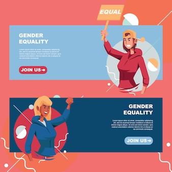 Conjunto de banner de igualdad de género mujer derechos humanos