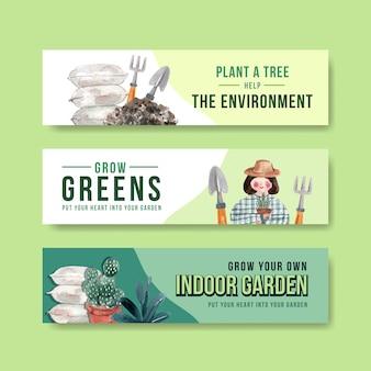 Conjunto de banner de jardinería