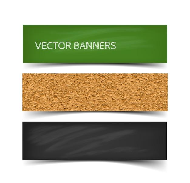 Conjunto de banner de junta escolar de greenboard, pizarra y corcho con tiza. banners web con sombra aislada sobre fondo blanco.