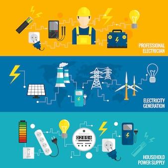 Conjunto de banner de línea de generación de energía.