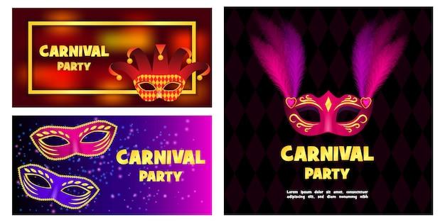 Conjunto de banner de máscara de carnaval