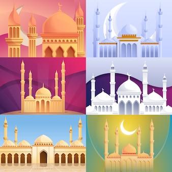 Conjunto de banner de mezquita, estilo de dibujos animados