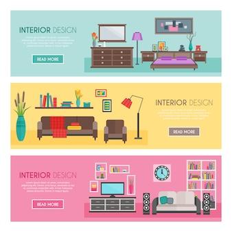 Conjunto de banner de muebles planos