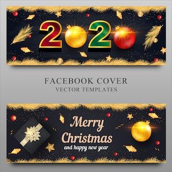 Conjunto de banner de navidad y año nuevo