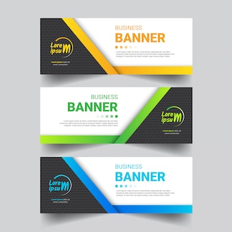 Conjunto de banner de negocios moderno Vector Premium