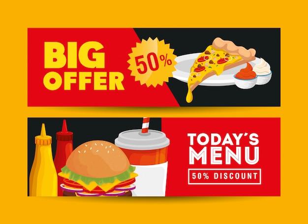 Conjunto de banner ofrece deliciosa comida rápida