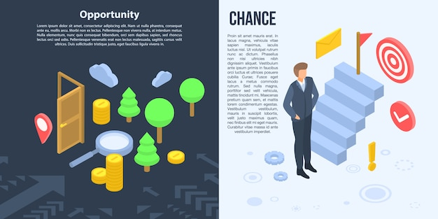 Conjunto de banner de oportunidad, estilo isométrico