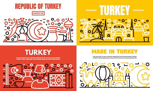 Conjunto de banner de país de turquía, estilo de contorno