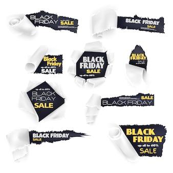 Conjunto de banner de papel de venta de viernes negro