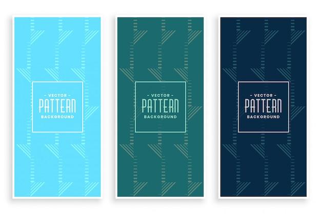 Conjunto de banner patrón geométrico abstracto