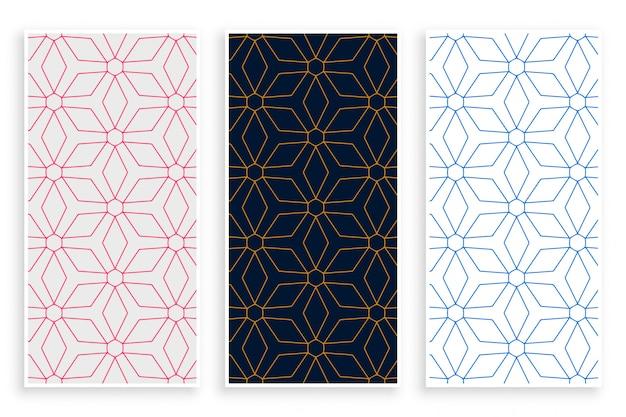 Conjunto de banner de patrón de líneas de estilo islámico