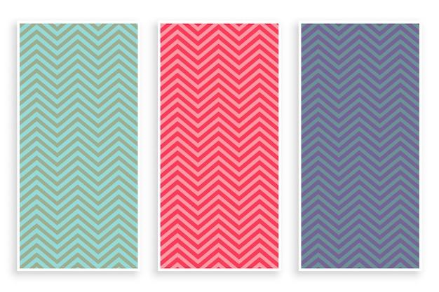 Conjunto de banner de patrón de zig zag de chevron