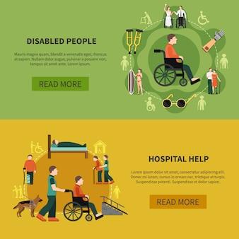 Conjunto de banner de persona discapacitada