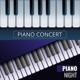 Conjunto de banner de piano de cola, estilo de dibujos animados