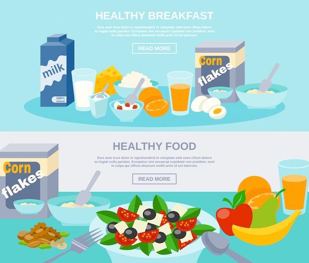Conjunto de banner plano de alimentos saludables