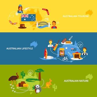 Conjunto de banner plano de australia