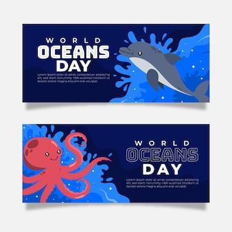 Conjunto de banner plano del día mundial de los océanos