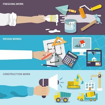 Conjunto de banner plano de diseño de construcción