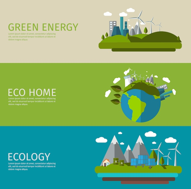 Conjunto de banner plano ecología