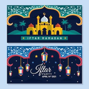 Conjunto de banner plano iftar