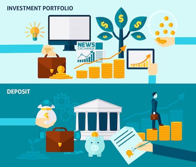 Conjunto de banner plano de inversión