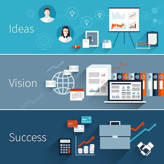 Conjunto de banner plano de negocios