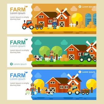 Conjunto de banner plano de paisaje de granja local. ilustración