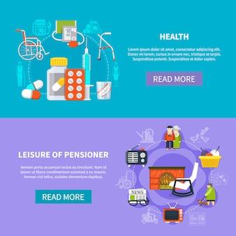 Conjunto de banner plano de pensionista