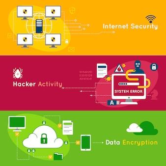 Conjunto de banner plano de protección de datos