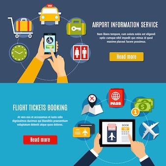 Conjunto de banner plano de servicio en línea del aeropuerto