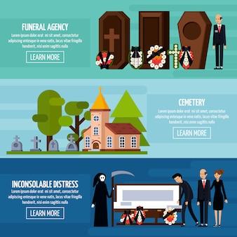 Conjunto de banner plano de servicios funerarios