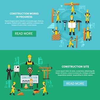 Conjunto de banner plano de trabajador de construcción azul claro y verde con descripciones del sitio de construcción y trabajos en progreso