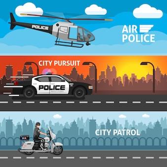 Conjunto de banner de policía plana