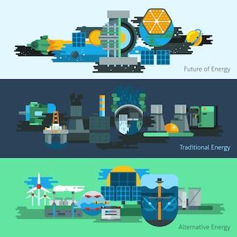 Conjunto de banner de producción de energía