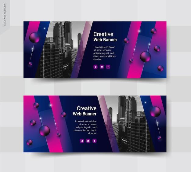 Conjunto de banner de publicación de redes sociales de portada de negocios