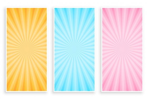 Conjunto de banner de rayos de rayos de sol abstractos