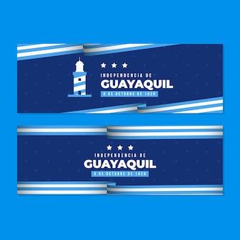 Conjunto de banner realista independencia de guayaquil