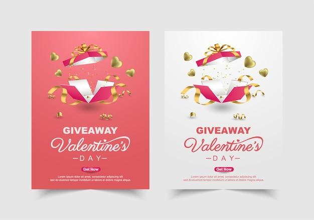 Conjunto de banner de regalo de san valentín con regalo dulce, plantilla de promoción y compras de corazón dulce.