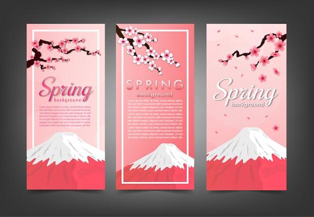 Conjunto de banner de sakura de flor de cerezo rosa