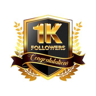 Conjunto de banner de seguidores realistas con cinta o seguidor de insignia de celebración en las redes sociales eps