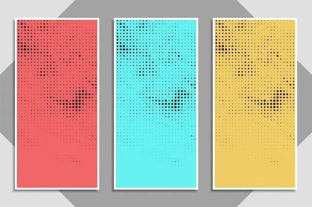Conjunto de banner de semitono colorido moderno abstracto