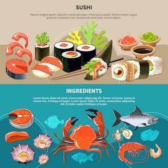 Conjunto de banner de sushi