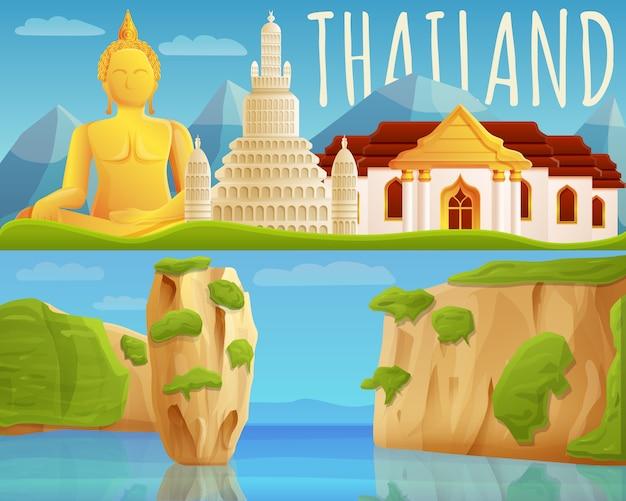 Conjunto de banner de tailandia, estilo de dibujos animados