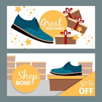 Conjunto de banner de tienda de zapatos azul de hombres