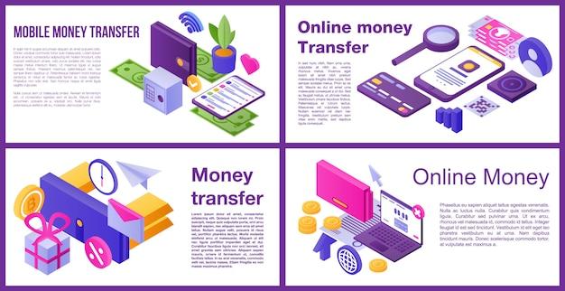 Conjunto de banner de transferencia de dinero, estilo isométrico