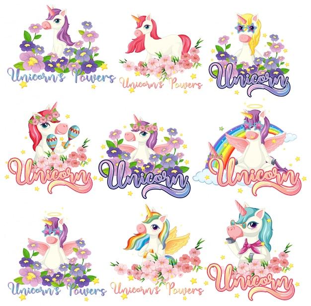 Conjunto de banner de unicornio