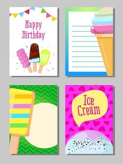 Conjunto de banner de vector de tarjetas lindo helado dulce