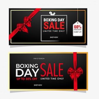 Conjunto de banner de venta de boxing day que cubre con cinta roja y oferta de descuento diferente en negro