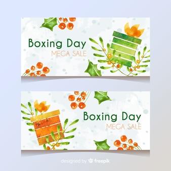 Conjunto de banner de venta de día de boxeo